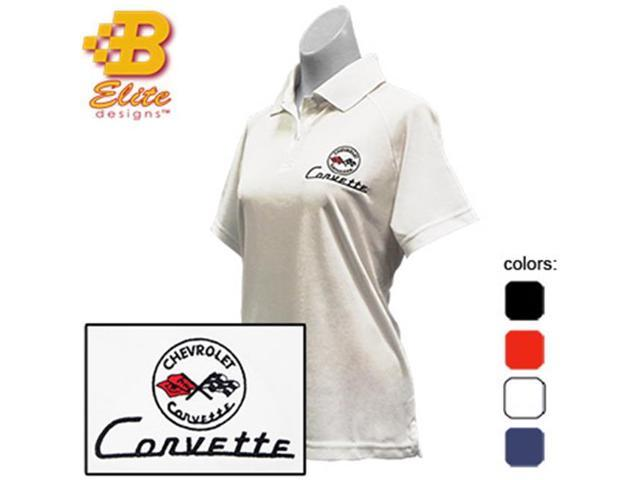Brickels Racing Collectibles C1 Corvette Embroidered Ladies Performance Polo Shirt Classic Red- Large -BDC1EPL111