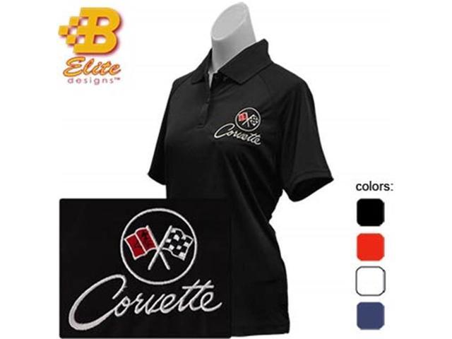 Brickels Racing Collectibles C2 Corvette Embroidered Ladies Performance Polo Shirt Black- Large -BDC2EPL112