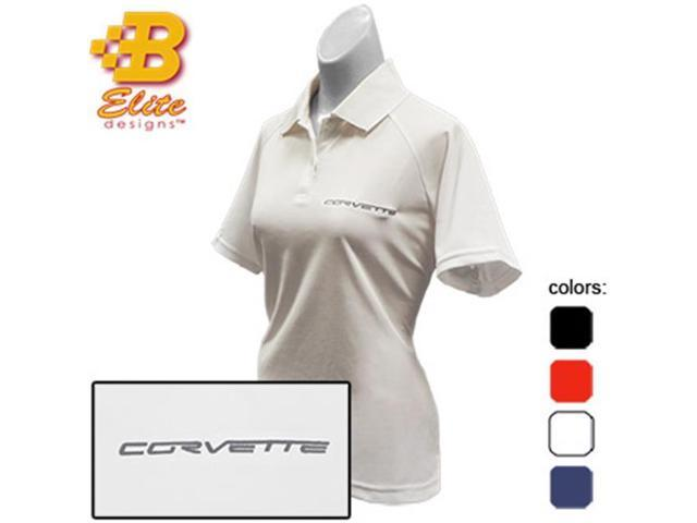 Brickels Racing Collectibles C6 Corvette Script Embroidered Ladies Performance Polo Shirt Black- Large -BDC6EPL118