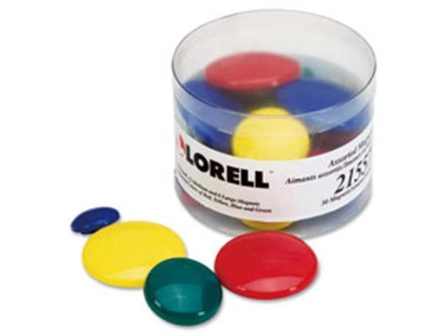 Lorell LLR21557 Magnets, 12 Sm-12 Md- 6 Lg, Clear Tub, 30-PK, Assorted
