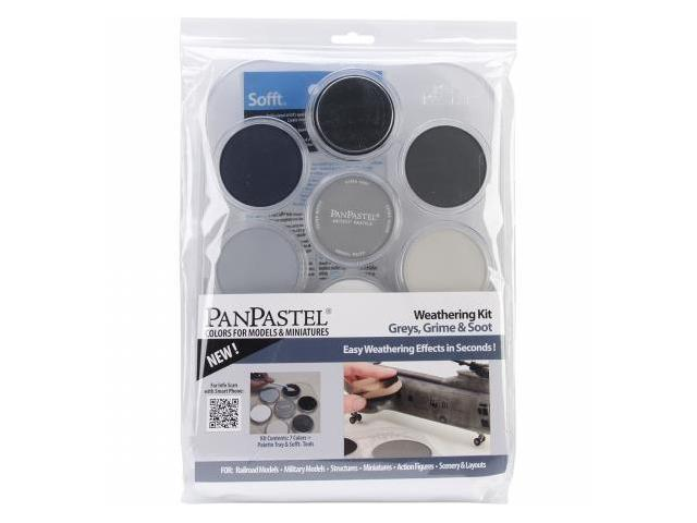 Colorfin PP30702 PanPastel Ultra Soft Artist Pastel Set 9ml 7-Pkg-Weathering-Grays, Grime And Soot