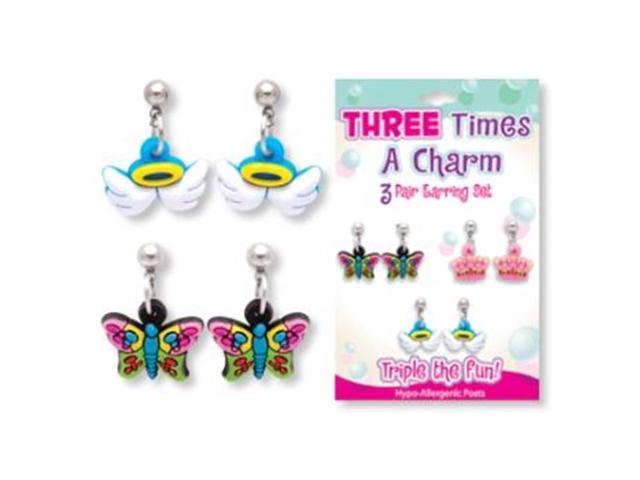 bulk buys three times a charm 3 pr earring set pack of
