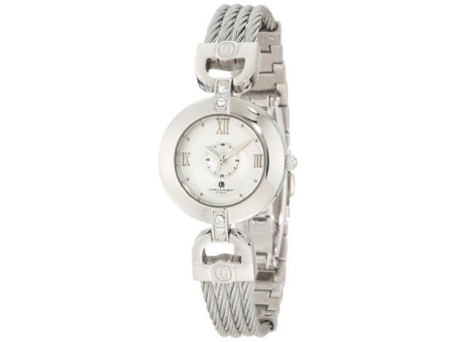 Charles-Hubert Paris 6809-W Stainless Steel Wire Bangle Silver Dial Watch