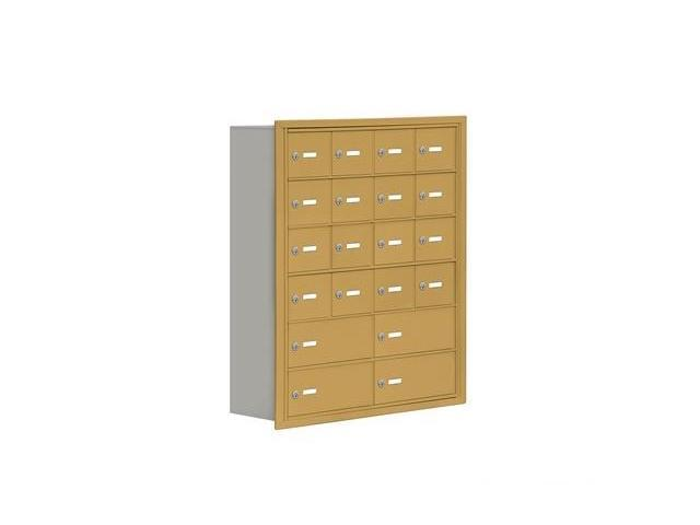 Salsbury 19068-20GRK Cell Phone Storage Locker 6 Door High Unit - 8 Inch Deep Compartments - 16 A Doors And 4 B Doors - Gold - Recessed Mounted - Master Keyed Locks