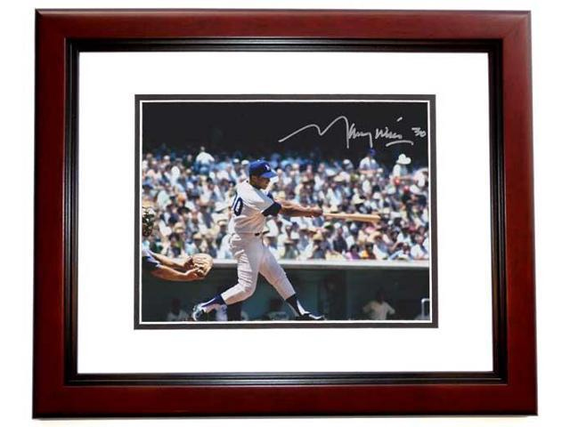 Real Deal Memorabilia MWills8x10-2MF Maury Wills Autographed Los Angeles Dodgers 8x10 Photo MAHOGANY CUSTOM FRAME - 3x World Series Champion