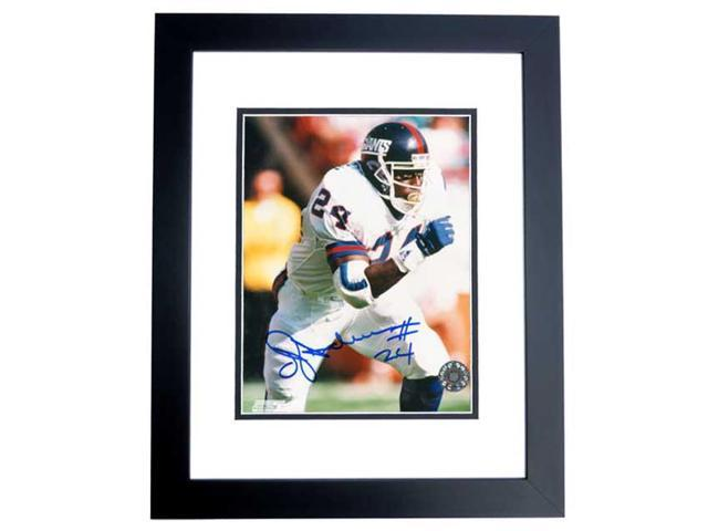 Real Deal Memorabilia OAnderson8x10-1BF Ottis Anderson Autographed New York Giants 8x10 Photo BLACK CUSTOM FRAME - 2x Super Bowl Champion