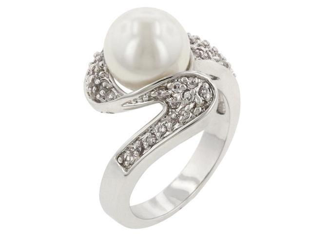 Kate Bissett R08044R-C84-09 Genuine Rhodium Plated Fashion Ring with White Pearl and Round Cut Clear CZ in a Pave Setting in Silvertone- Size 9