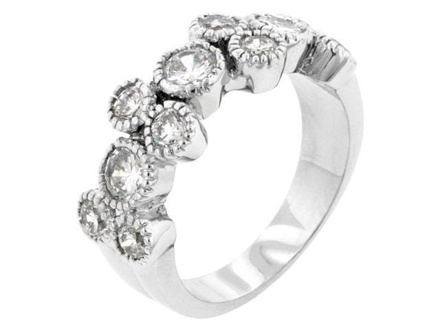 Kate Bissett R08042R-C01-07 Genuine Rhodium Plated Anniversary Ring with 11 Round Cut Clear CZ in a Bezel Setting with Milligrain Finish in Silvertone- Size 7