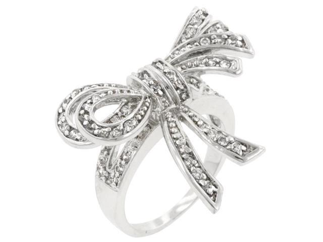 Kate Bissett R08043R-C01-07 Genuine Rhodium Plated Bow Inspired Fashion Ring with Round Cut Clear CZ in a Pave Setting in Silvertone- Size 7