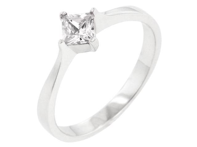 Kate Bissett R08121RS-S01-07 Genuine Rhodium Plated to .925 Sterling Silver Solitaire Ring with Princess Cut Clear CZ in a Prong Setting in Silvertone- Size 7
