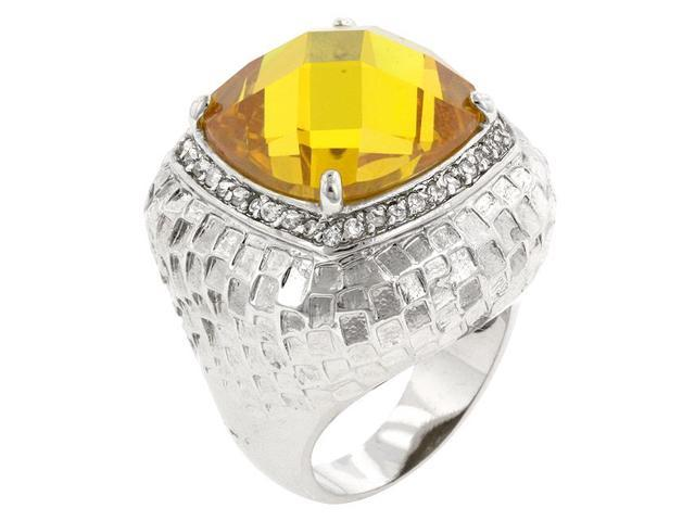 Kate Bissett R08056R-C61-06 Genuine Rhodium Plated Ring with Multi-Faceted Yellow CZ and Round Cut Clear CZ in a Prong Setting in Silvertone- Size 6