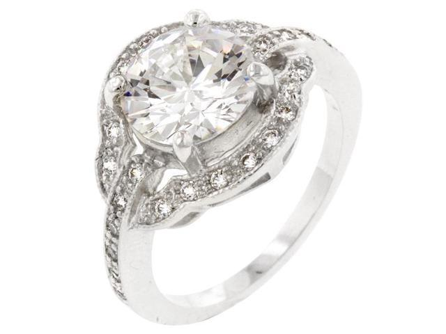 Kate Bissett R08058R-C01-05 Genuine Rhodium Plated Engagement Ring with Round Cut Clear CZ in a Prong Setting in Silvertone- Size 5