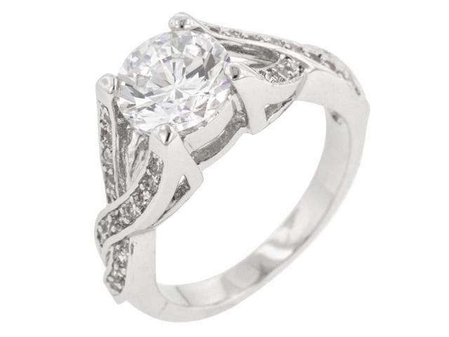 Kate Bissett R08062R-C01-07 Genuine Rhodium Plated Engagement Ring with Prong Set Clear CZ in Silvertone- Size 7