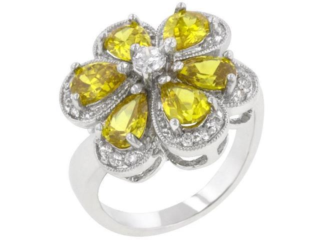Kate Bissett R08074R-C61-05 Genuine Rhodium Plated Ring with Pear Cut Yellow and Round Cut Clear CZ in Prong Setting in Silvertone- Size 5