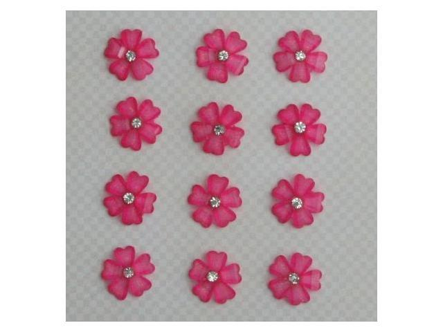 Maya Road RES2575 Sparkle & Shine Mini Resin Flowers with Rhinestone .4 in. 12-Pkg-Hibiscus