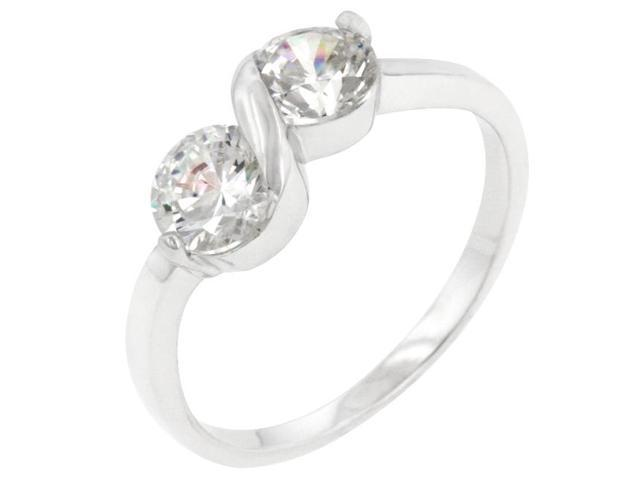 Kate Bissett R08120RS-C01-10 Genuine Rhodium Plated to . 925 Sterling Silver Ring with Round Cut Clear CZ in a Prong Setting in Silvertone- Size 10