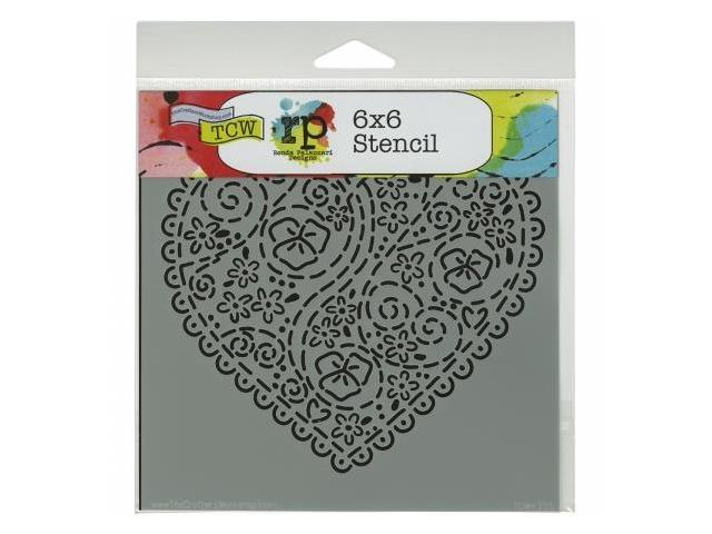 Crafters Workshop TCW6X6-435 Crafters Workshop Template 6 in. X6 in. -Embroidered Heart
