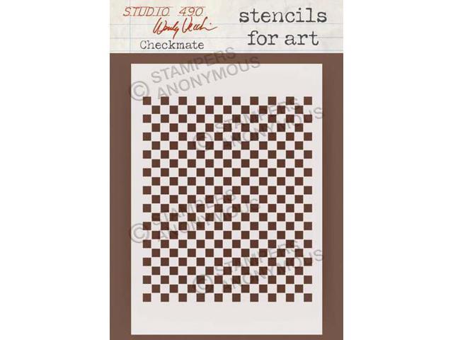 Stampers Anonymous SFA-26 Wendy Vecchi Studio Stencil Collection 6.5 in. X4.5 in. -Checkmate