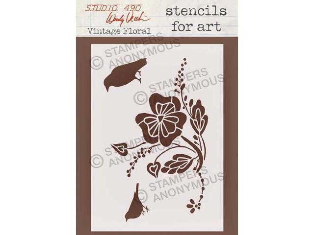 Stampers Anonymous SFA-30 Wendy Vecchi Studio Stencil Collection 6.5 in. X4.5 in. -Vintage Floral