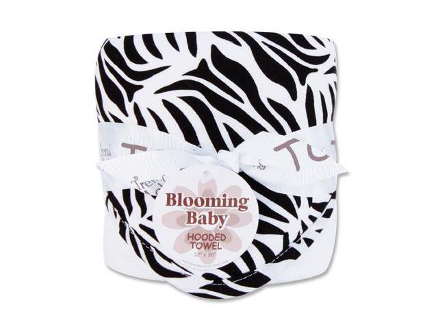 Trend-Lab 101879 Bouquet Hooded Towel - Black & White Zebra