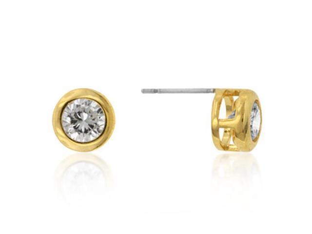 J Goodin E01043G-C01 14k Gold Bonded Bezel Set Round Cut Clear CZ Stud Earrings in Goldtone