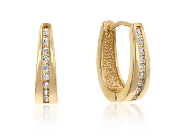 J Goodin E01207G-C01 14k Gold Bonded Small Hoop Channel Set Round Cut Clear CZ Earrings in Goldtone
