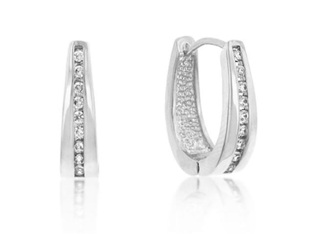 J Goodin E01207R-C01 White Gold Rhodium Bonded Small Hoop Channel Set Round Cut Clear CZ Earrings in Silvertone