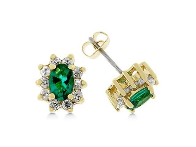 J Goodin E01609G-C40 14k Gold Bonded Stud Earrings Featuring a Prong Set Oval Cut Emerald Green CZ Pedal Accented with Prong Set Round Cut Clear CZ in Goldtone