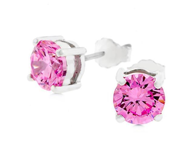 J Goodin E01220RS-S12-6.25MM Pink CZ Stud Earrings