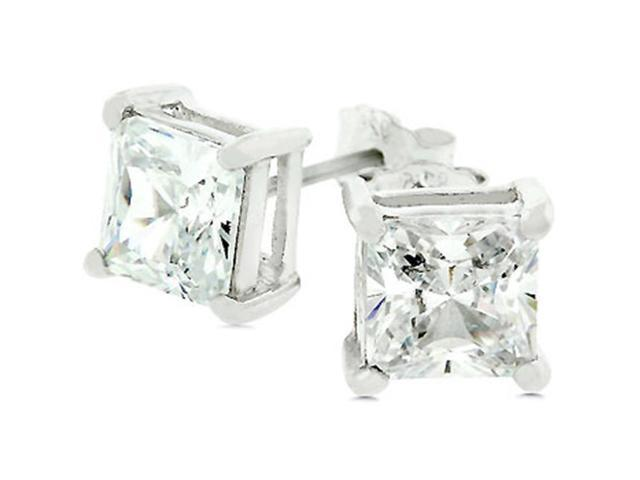 J Goodin E00238RS-S01 White Gold Rhodium Bonded to .925 Sterling Silver Prong Set 7mm Princess Cut CZ Stud Earrings in Silvertone