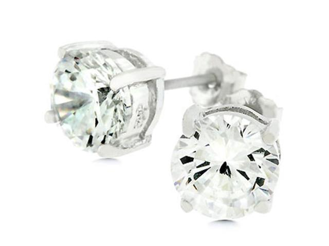 J Goodin E01220RS-S01-7MM White Gold Rhodium Bonded .925 Sterling Silver 7mm Round Cut Stud Earrings 3.0 ct Total in Silvertone