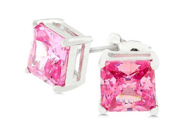 J Goodin E01308S-S12 White Gold Rhodium Bonded .925 Sterling Silver with Princess Cut Pink Ice CZ Earrings in Silvertone
