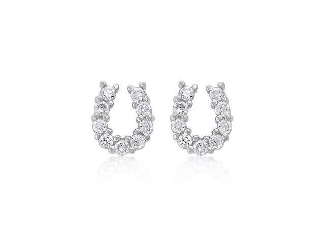 White Gold Rhodium Bonded Horseshoe Stud Earrings with Prong Set Round Cut Clear Cubic Zirconia in Silvertone
