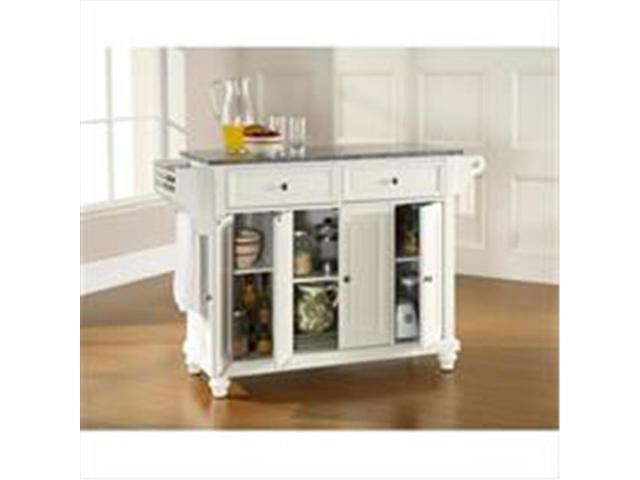 Crosley Furniture KF30003DWH Cambridge Solid Granite Top Kitchen Island in White Finish