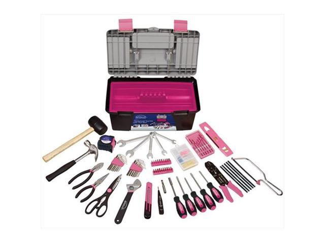 Apollo Tools DT7102P 170 Piece Household Tool Kit with Tool Box in Pink