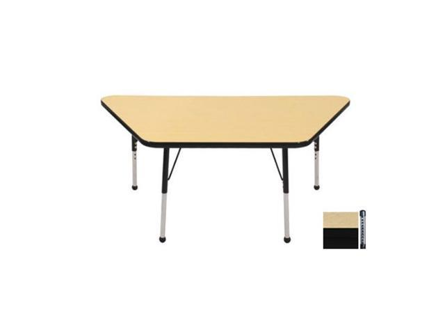 Early Childhood Resource ELR-14119-MMBK-C 30 in. x 60 in. Maple Trapezoid Adjustable Activity Table with Black Chunky Leg