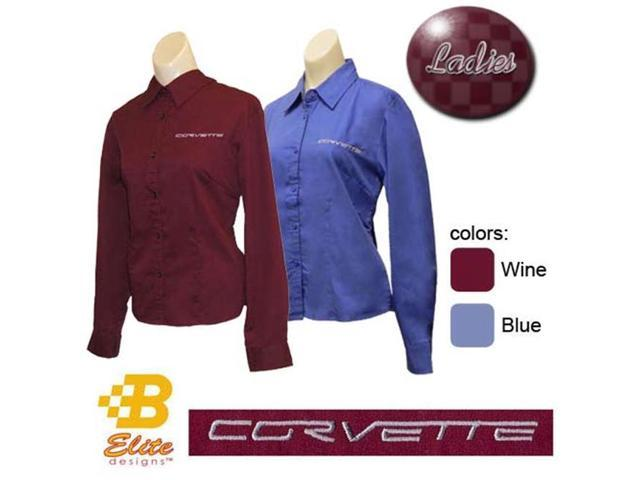 B Elite Designs BDC6ESL913-BLU-XL C6 Corvette Script Embroidered Ladies Long Sleeve Corvette Dress - French Blue - X-Large