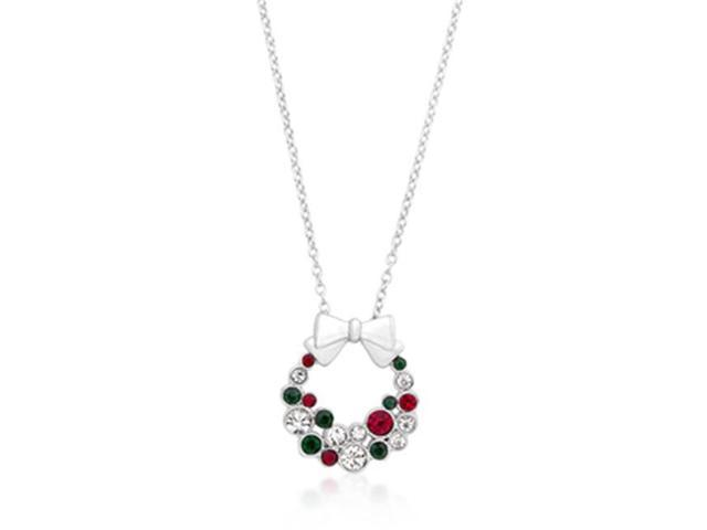 J Goodin P50160R-V01 Holiday Wreath Colored Crystal Pendant