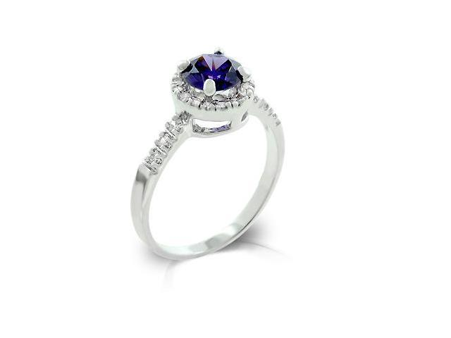J Goodin R08024R-C21-08 White Gold Rhodium bonded with Pave Round Cut Clear CZ Flanking a Large Tanzanite Round Cut Centerpiece- Fashion Ring in Silvertone. - Size 8