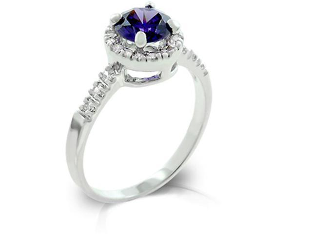 J Goodin R08024R-C21-09 White Gold Rhodium bonded with Pave Round Cut Clear CZ Flanking a Large Tanzanite Round Cut Centerpiece- Fashion Ring in Silvertone. - Size 9