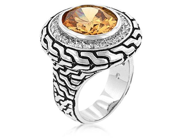 J Goodin R08025R-C72-05 White Gold Rhodium Bonded Antique Ring Accented with Black Jewelers Ink and Clear CZ with Champange Centerstone in Silvertone - Size 5