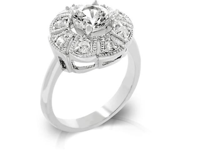 J Goodin R08034R-C01-10 White Gold Rhodium Antique Milligrain Style Ring featuring CZ Cluster with Round CZ Center Stone - Size 10