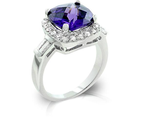 J Goodin R08036R-C21-08 White Gold Rhodium Bonded Amethyst Fashion Ring Accented with Clear CZ and Filigree Finish in Silvertone - Size 8