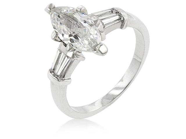 J Goodin R08061R-C01-06 White Gold Rhodium Bonded Engagement Ring with Marquise Cut Centerstone and Shouldered Baguettes in Silvertone - Size 6