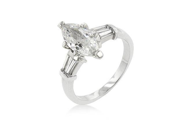J Goodin R08061R-C01-07 White Gold Rhodium Bonded Engagement Ring with Marquise Cut Centerstone and Shouldered Baguettes in Silvertone - Size 7