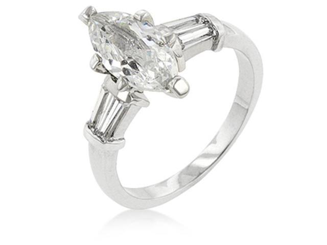 J Goodin R08061R-C01-10 White Gold Rhodium Bonded Engagement Ring with Marquise Cut Centerstone and Shouldered Baguettes in Silvertone - Size 10