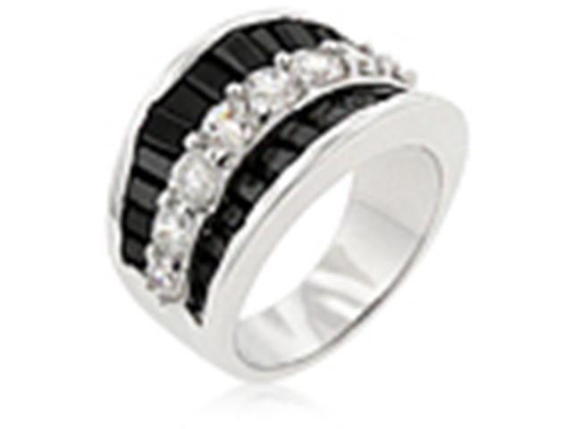 J Goodin R08064R-C03-05 White Gold Rhodium Bonded Contemporary Ring with Clear and Jet Black CZ in Silvertone - Size 5