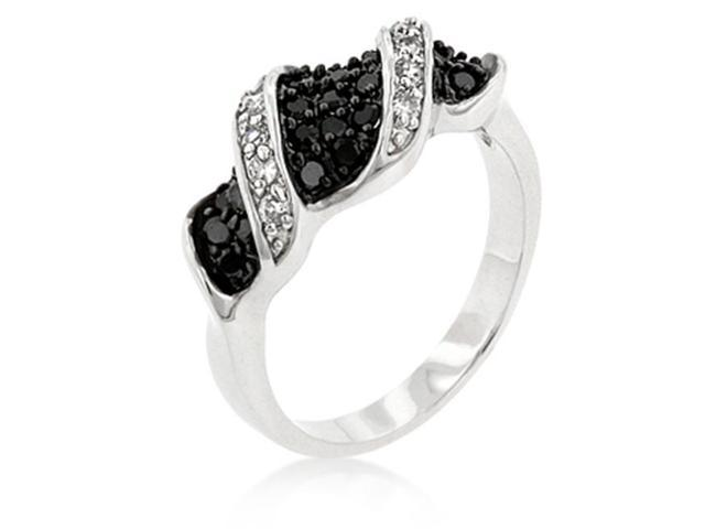 J Goodin R08066T-C03-09 White Gold Rhodium Bonded Jet Black and Clear CZ Contemporary Fashion Ring in Silvertone - Size 9