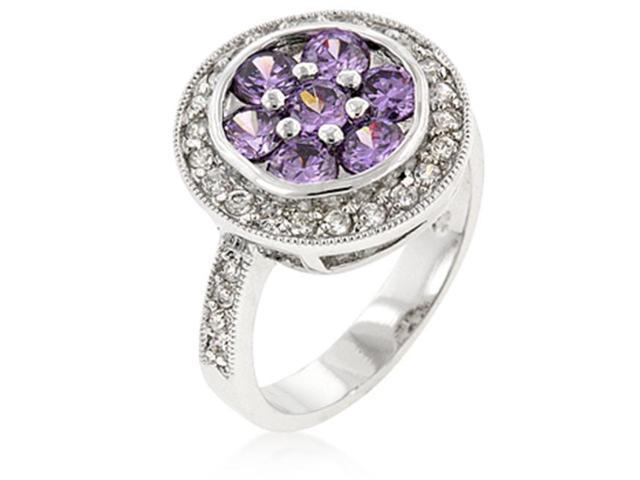 J Goodin R08080R-C20-05 White Gold Rhodium Bonded Fashion Ring with Amethyst CZ Center and Clear CZ Outer Layer in Silvertone - Size 5