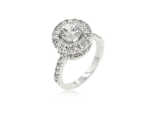 J Goodin R08081R-C01-07 White Gold Rhodium Bonded Engagement Ring with Prong Set Clear CZ Centerstone and Accent Stones in Silvertone - Size 7